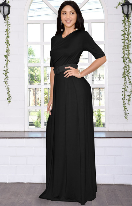 7a4bf3a763a2 ... Long Dressy Short Sleeve Flowy Wrap Modest Day Maxi Dress Gown - NT077  ...