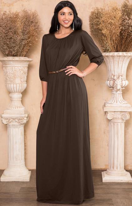 508bbef57b5d ... Long 3/4 Sleeve Casual Flowy Empire Waist Maxi Dress Gown - NT079 ...