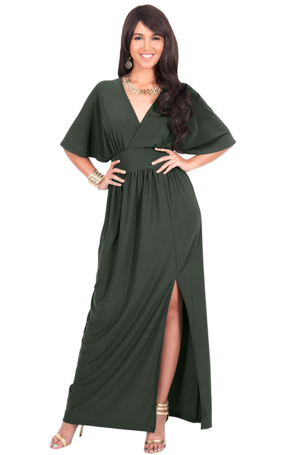 13bb28678f79 ... Dressy Long Sexy Slit Short Sleeve Bridesmaid Maxi Dress Gown - NT164  ...