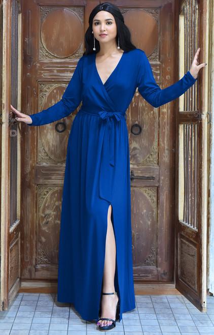 39a7511cac9cb Long Sleeve Elegant Evening Fall Sexy Slit Maxi Dress Gown - NT292 ...