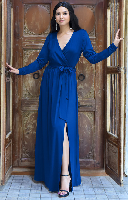 KOH KOH Long Sleeve Cocktail Slit Gown Maxi Dress - NT176
