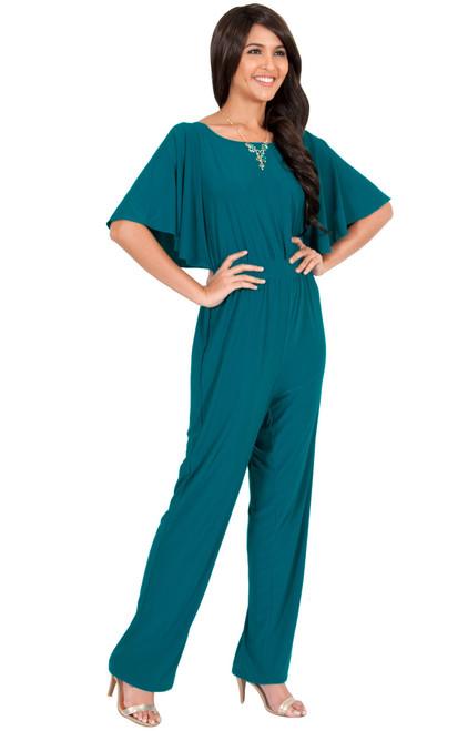 f57a9c9fdb47 ... Dressy Long Pantsuit Short Sleeve Casual One piece Jumpsuit - NT163 ...