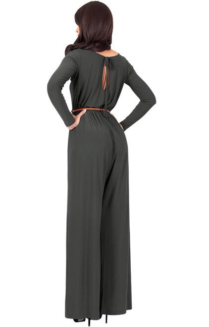 524b50bcd339 ... Long Sleeve Dressy Elegant Wide Leg Fall Jumpsuit Romper Outfit - NT175  ...