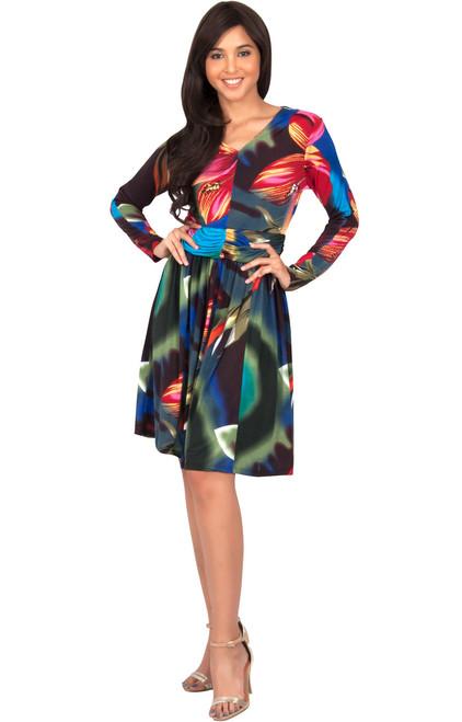 8ce8ff78d0f KOH KOH Long Sleeve Pleated Printed Midi Dress - NT201