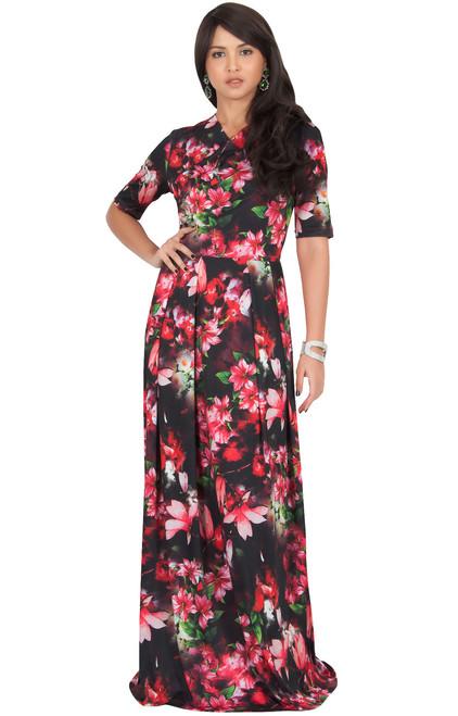 a63169c0d23 KOH KOH Floral Printed Short Sleeve Maxi Dress - NT284 B002