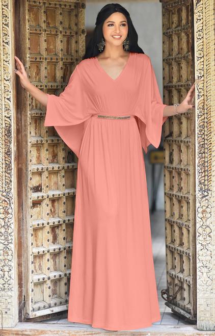 fdb06564d51 ... Long Flowy Short Sleeve Modest Caftan Kaftan Maxi Dress Gown - NT320 ...