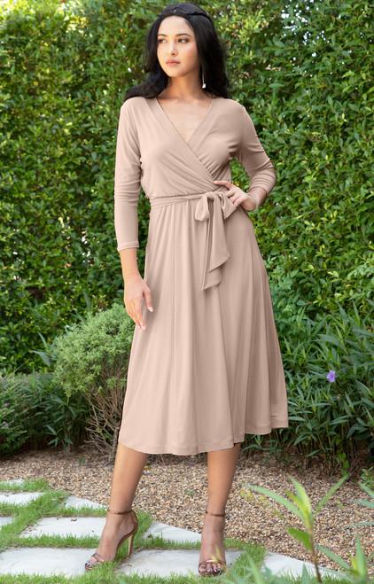 KOH KOH Swing Knee Length Casual 3/4 Sleeve Day Midi Dress - NT310