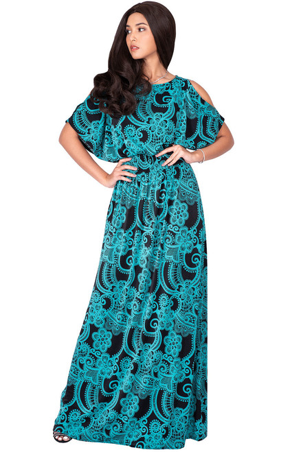 KOH KOH Long Floral Printed Short Sleeve Sexy Sundress Maxi Dress - NT075_A016