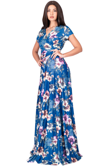 42575b27d3bb ... KOH KOH Long Floral Printed Short Sleeve V-Neck Maxi Dress Gown -  NT074 B033 ...