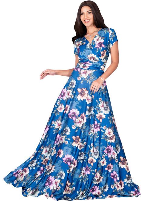 526b8e3039d KOH KOH Long Floral Printed Short Sleeve V-Neck Maxi Dress Gown - NT074 B033