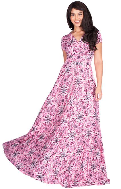 Long Modest Print Short Cap Sleeve Summer Maxi Dress Gown - NT074_B006
