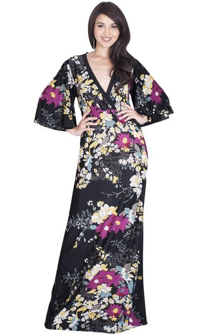 Long Casual 3/4 Sleeve Floral Print Summer Maxi Dress - NT188_A019