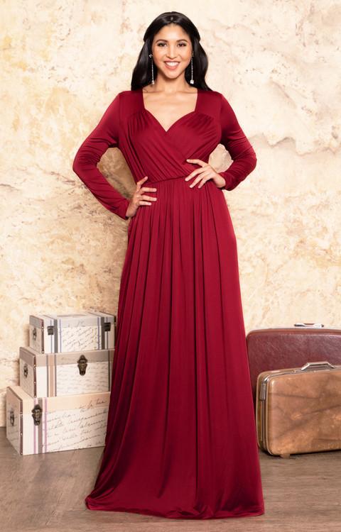 Long Sleeve Dressy V Neck Semi Formal Evening Maxi Dress