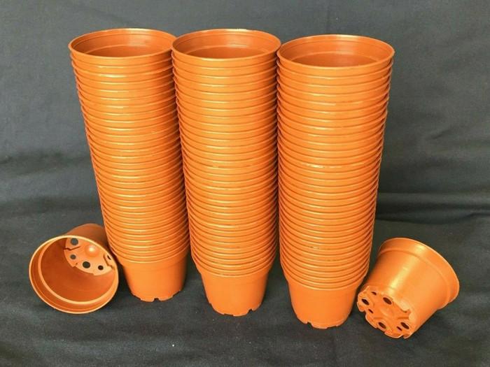 Plastic Pots, TO6D, Poppelmann, 6 cm. Lot of 100 New