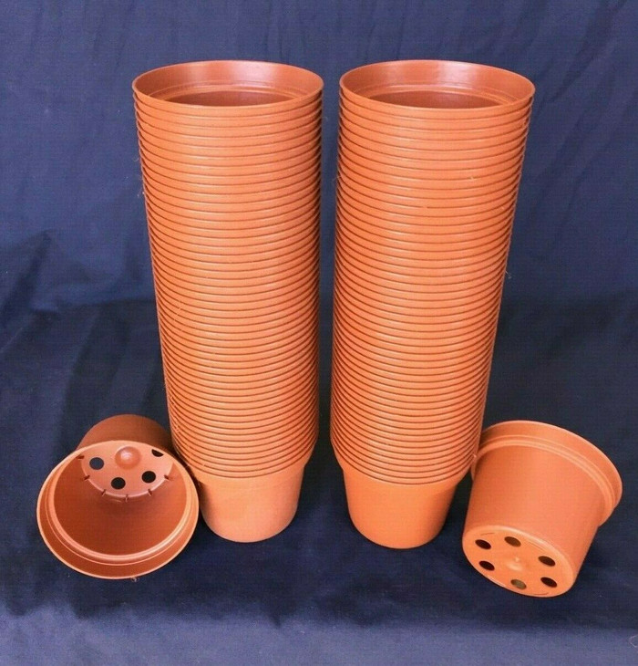 "Plastic Flower Pots, TO7.5 Poppelmann 7.5 cm. (ap. 3"") Lot of 100 New"