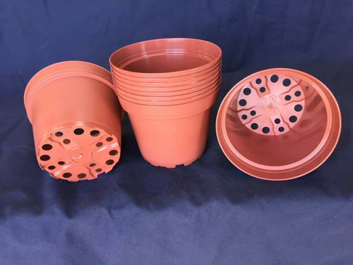 "Plastic Flower Pots, TO10D TC, Poppelmann 10cm. (ap. 4"") Lot of 10 New"