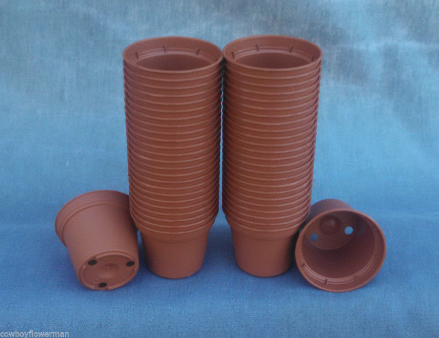 TO5 Tiny 5 cm. terra-cotta colored plastic flower pots, New, Sold in lots of 50, 100 and 200 pots