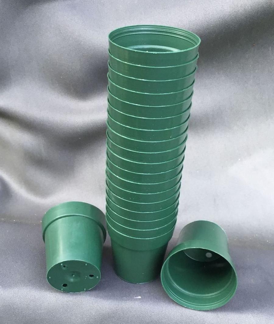 "Green Round 2"" Plastic Flower Pots"