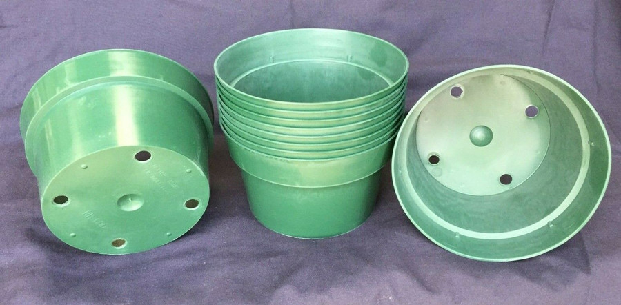 "Bulb Pans, 6"" Green Plastic, Lot of 10 Pots"