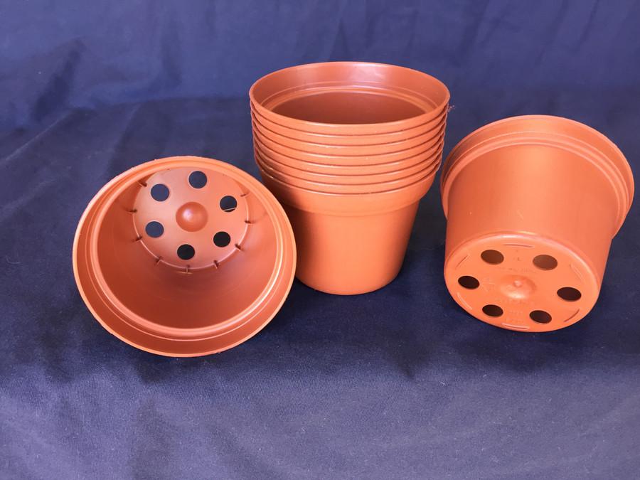 "3""  Plastic Flower Pots, Poppelmann TO7.5, Lot of 10"
