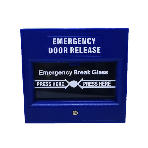 Blue Box Exit Breaking Glass