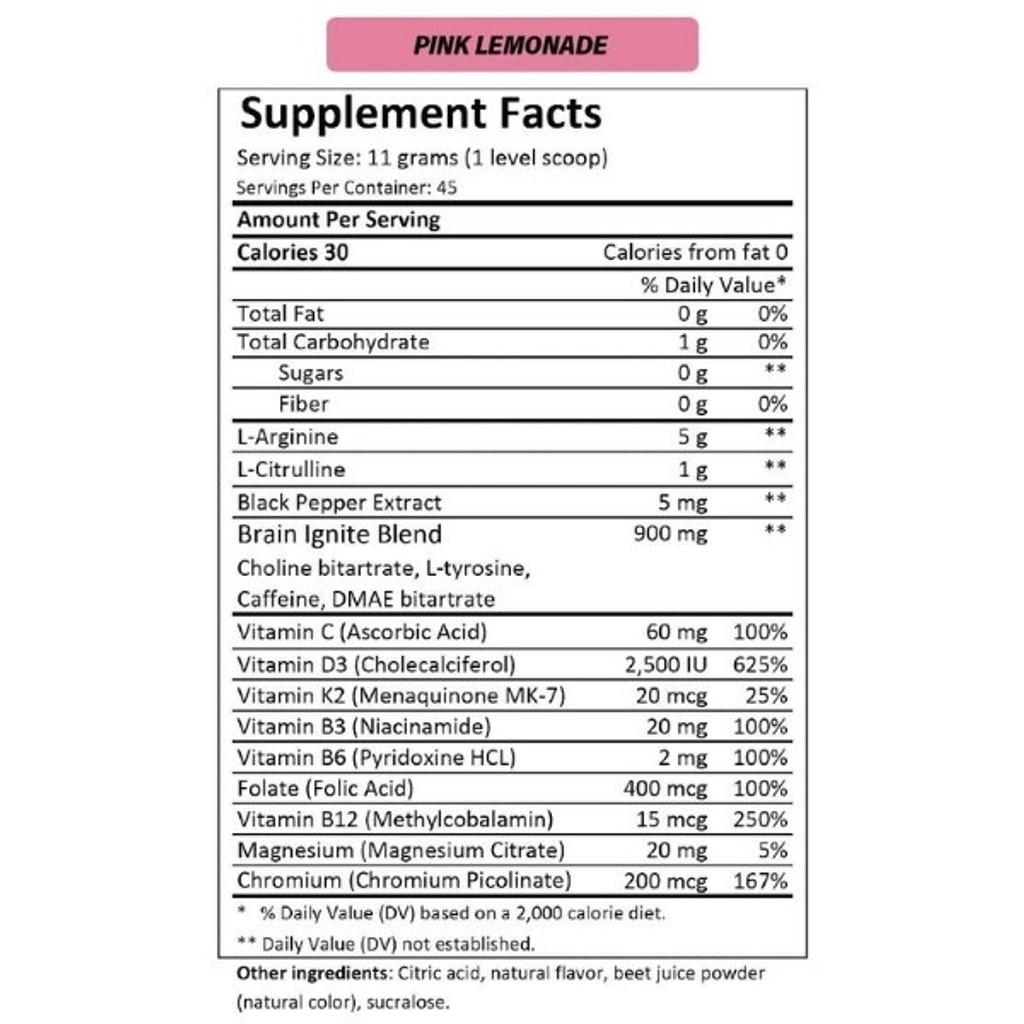 MTN OPS IGNITE Pink Lemonade Nutrition Facts