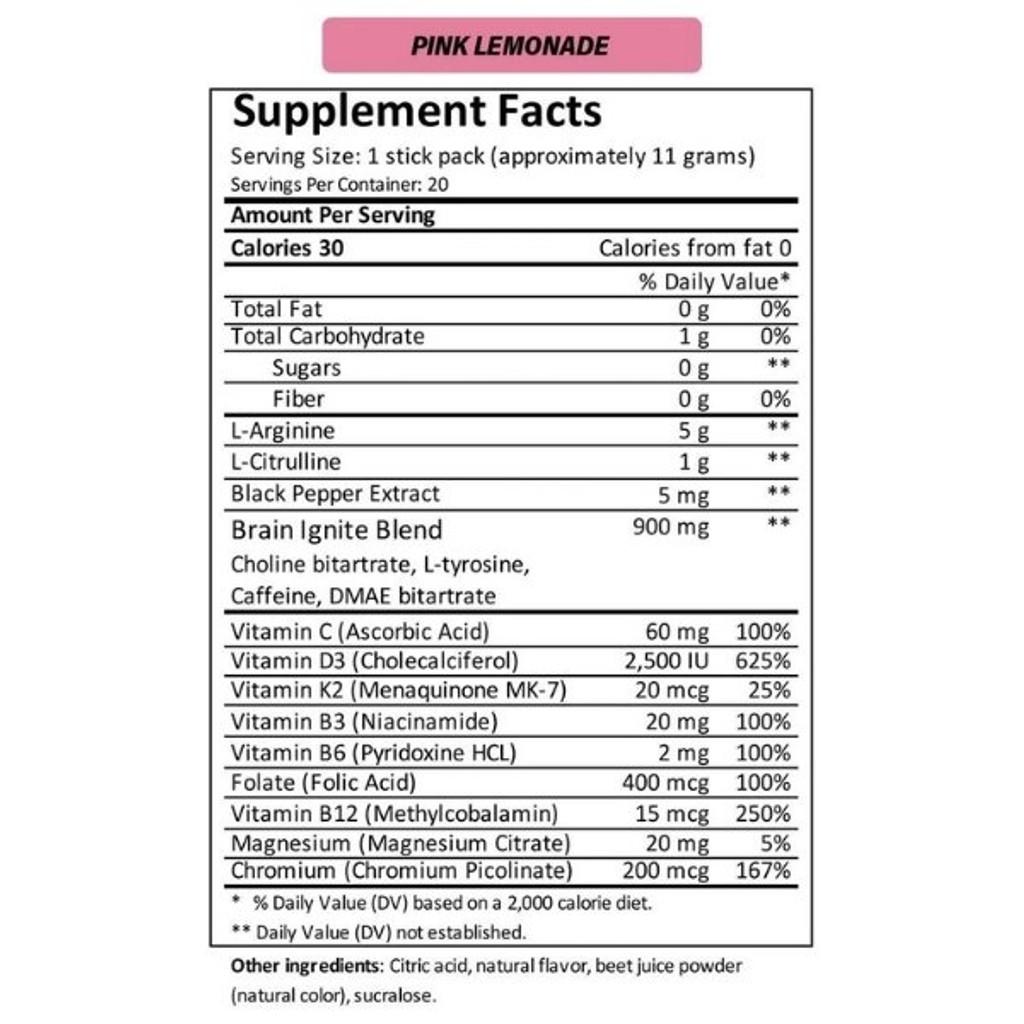 MTN OPS IGNITE Pink Lemonade Single Serve Nutrition Facts