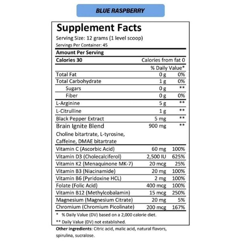 MTN OPS IGNITE Blue Raspberry Nutrition Facts