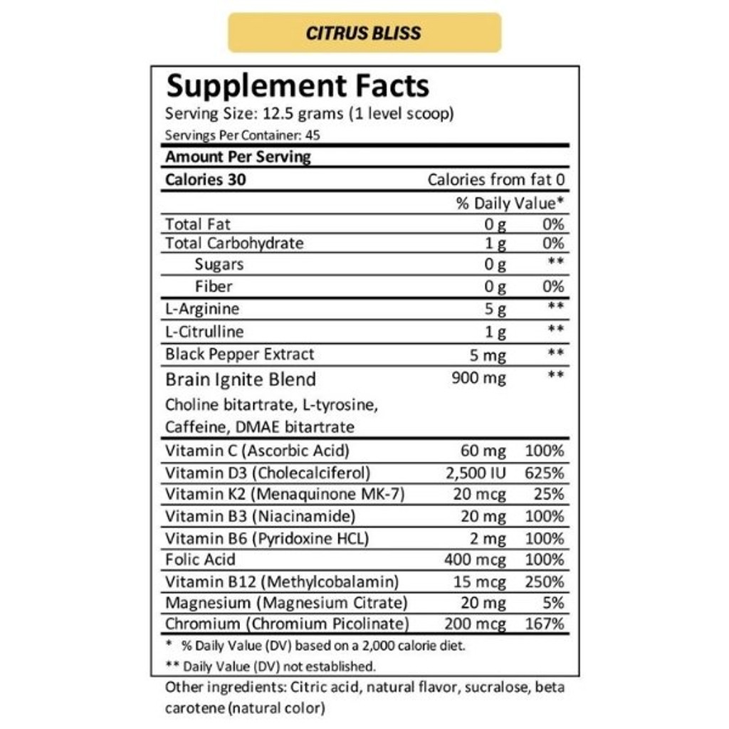 MTN OPS IGNITE Citrus Bliss Nutrition Facts