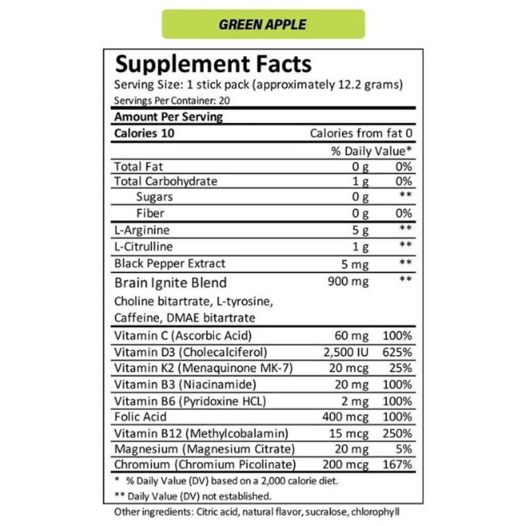 MTN OPS IGNITE Green Apple Single Serve Nutrition Facts