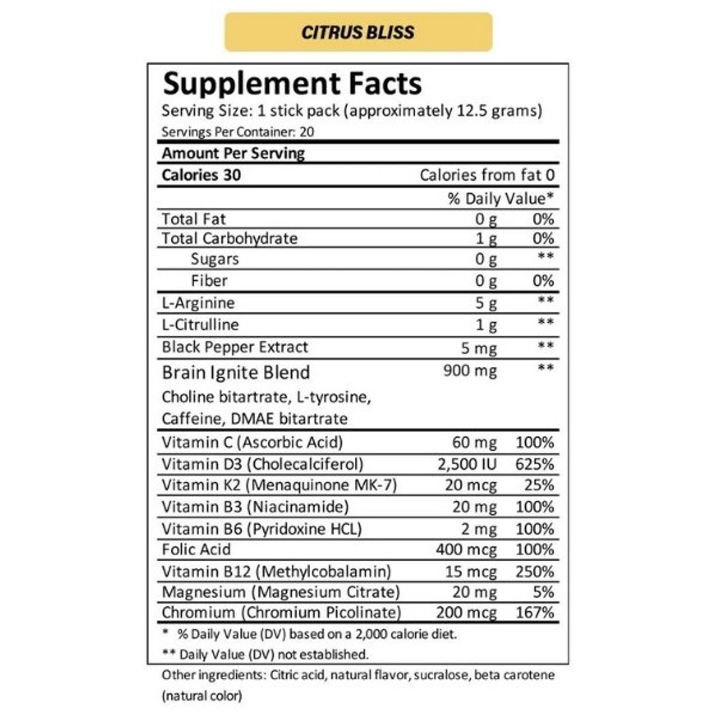MTN OPS IGNITE Citrus Bliss Single Serve Nutrition Facts