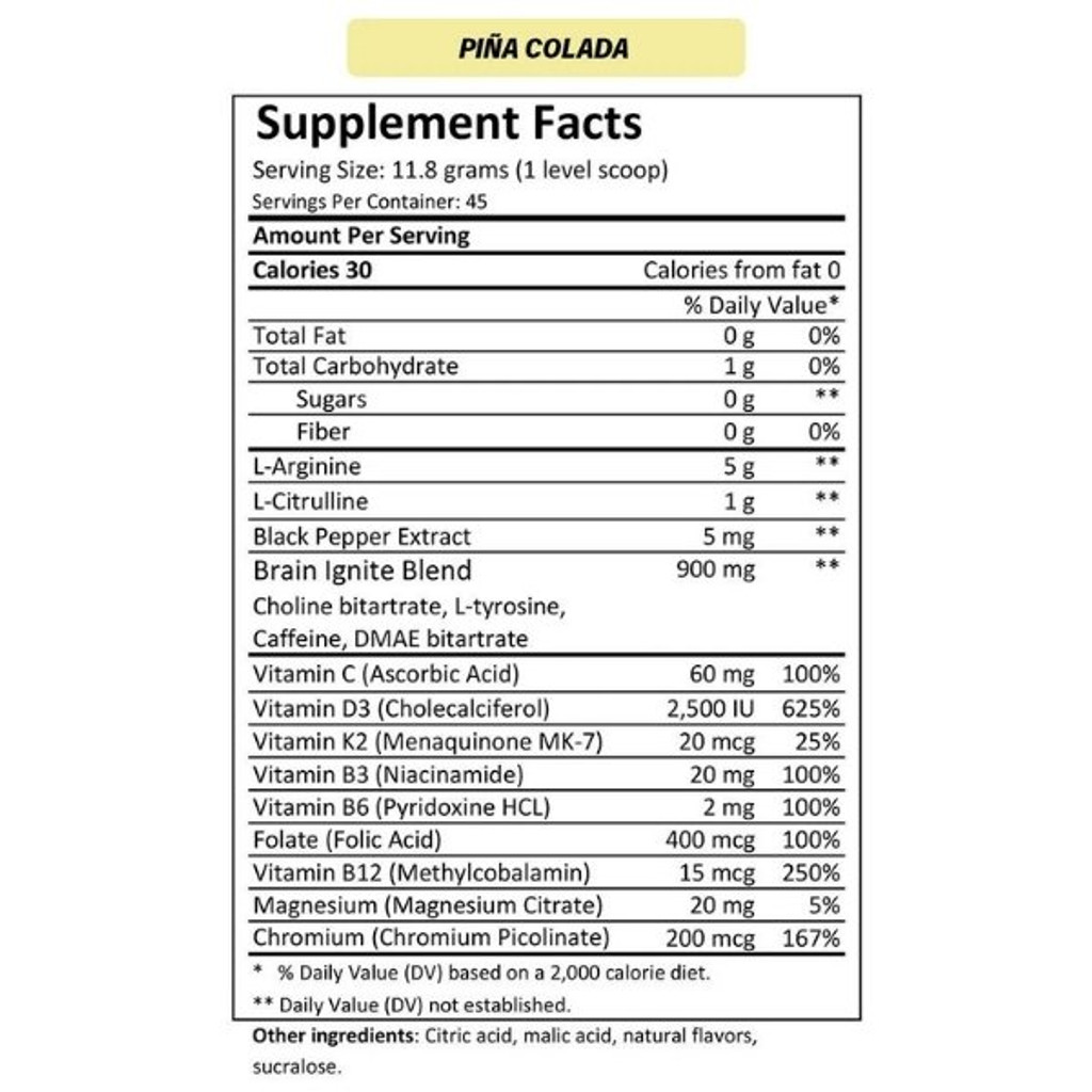 MTN OPS IGNITE Pina Colada Nutrition Facts