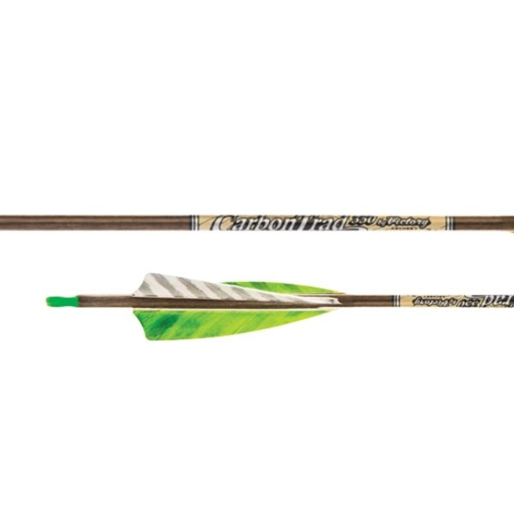 Victory Carbon Trad Gamer Feather Fletched Arrow (6 pack)