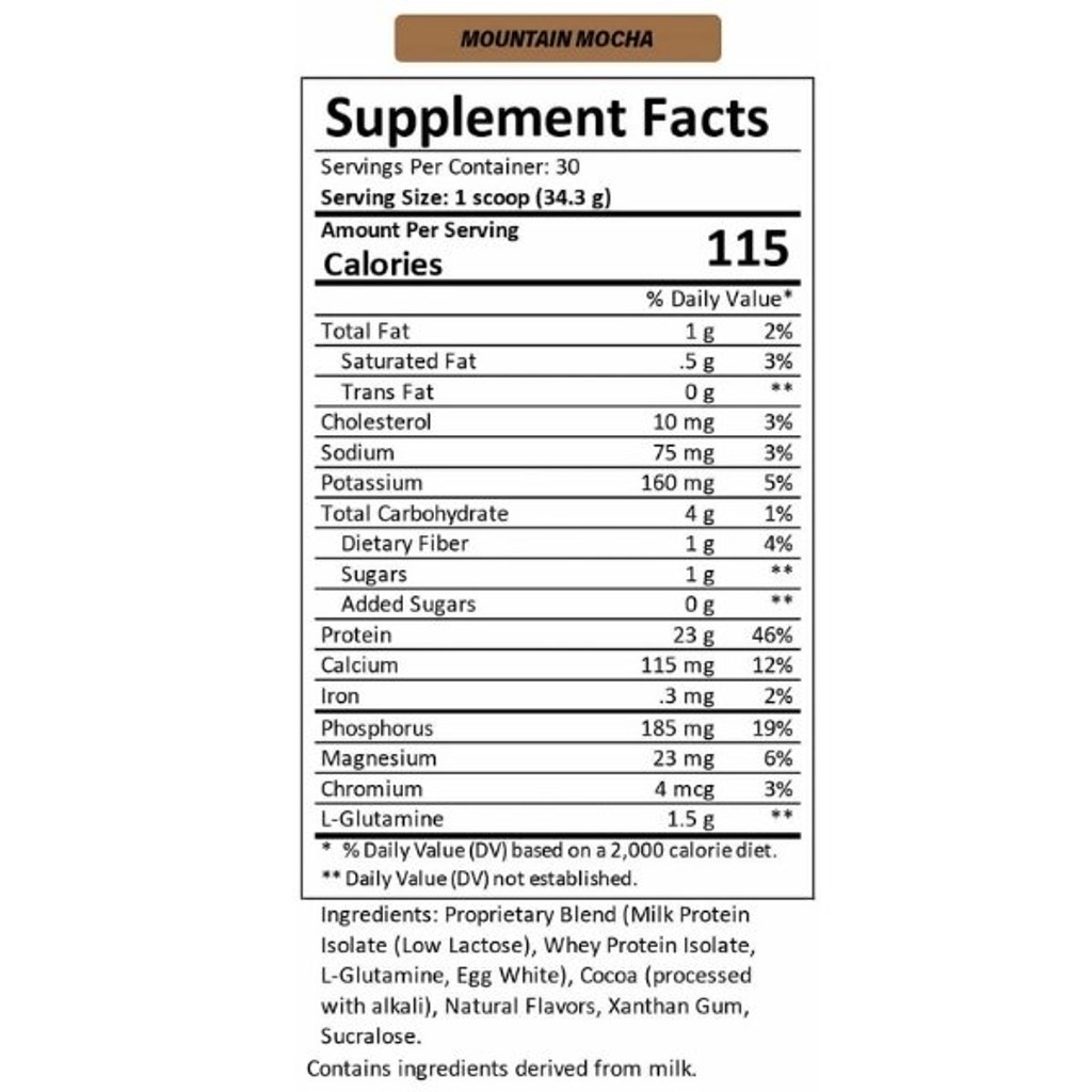 MTN OPS MAGNUM Whey Protein Mountain Mocha Nutrition Facts