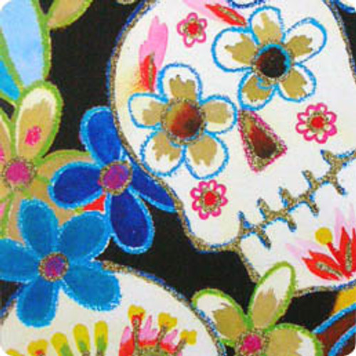 "45"" cotton fabric printed sugar skulls with glitter"