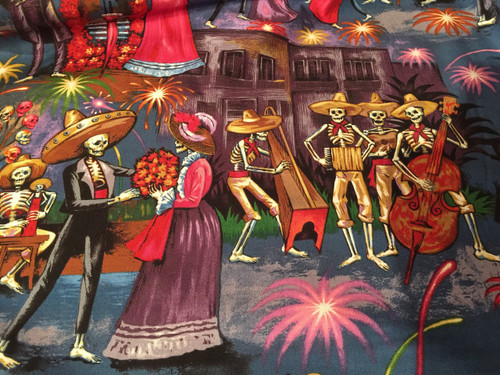 gorgeous calavera scene reminiscent of the the Alameda pre-Mexican revolution of  1910, musicians, dancers,  fireworks