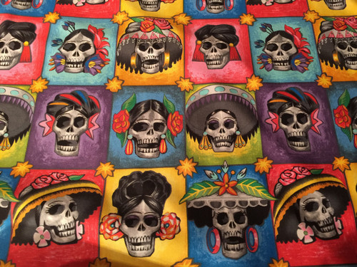 Playful skulls of women dressed up, 100% cotton by Alexander Henry fabrics
