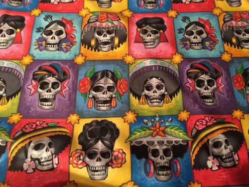 Playful skulls of women dressed up, 100% cotton by Alexander Henry fabrics