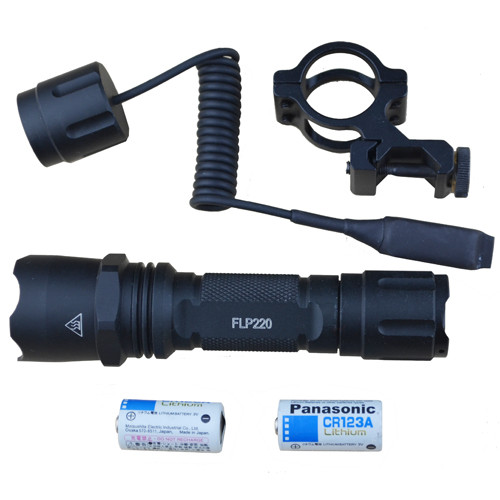 Tactical Flashlight, 220 Lum. CREE XR5, 45 Deg. Mount, SOS/STROBE func.