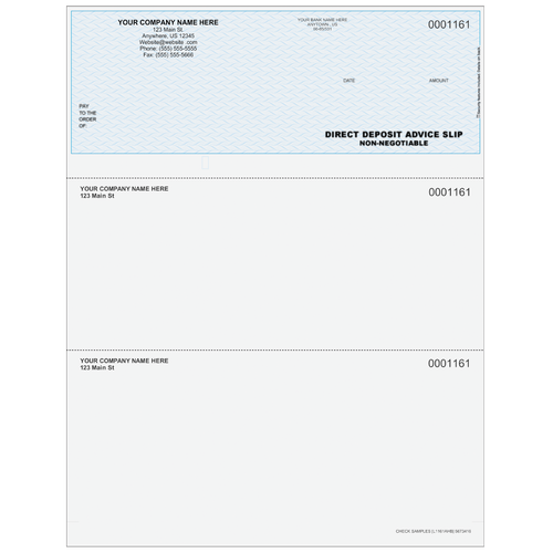 L1161A - Advice of Deposit Top Business Check