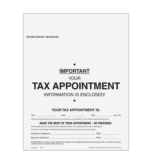 A010 - Tax Organizer with Appointment Reminder