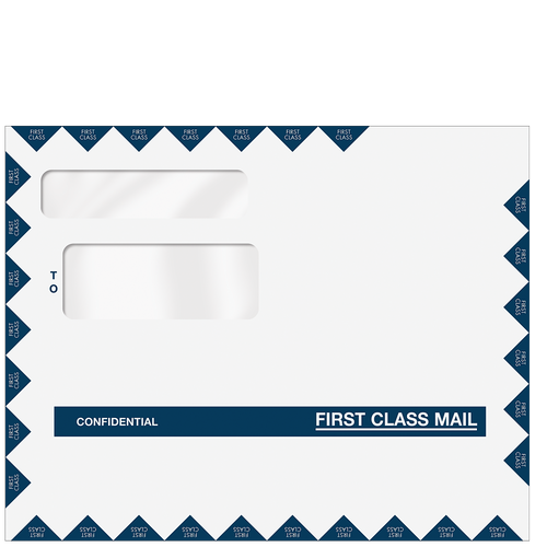 C80596 -9.5 x 12 Double Window Confidential First Class Envelope