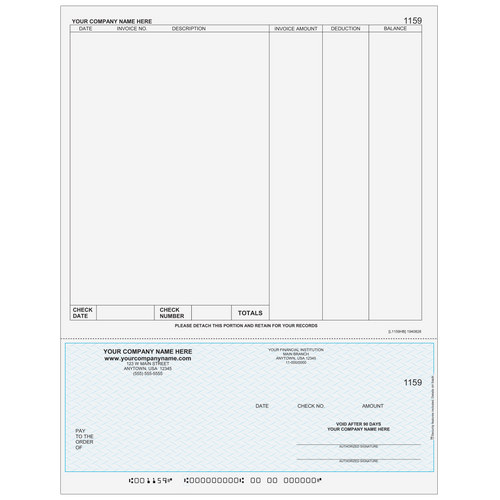 L1159 - Accounts Payable Bottom Business Check (One Perf)