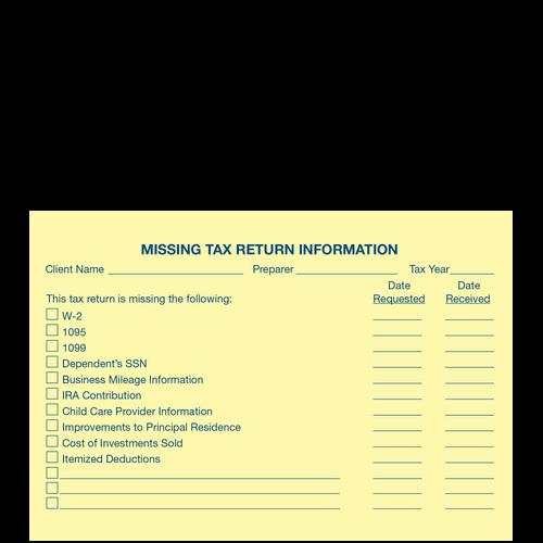 1209014 - Post-It Missing Tax Rtrn Info