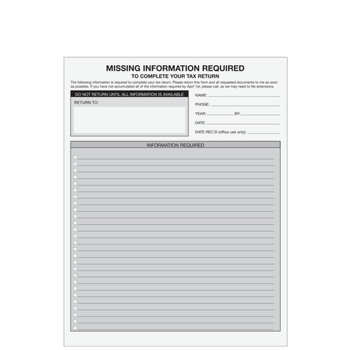 A073 - Missing Information Form (with Lines)