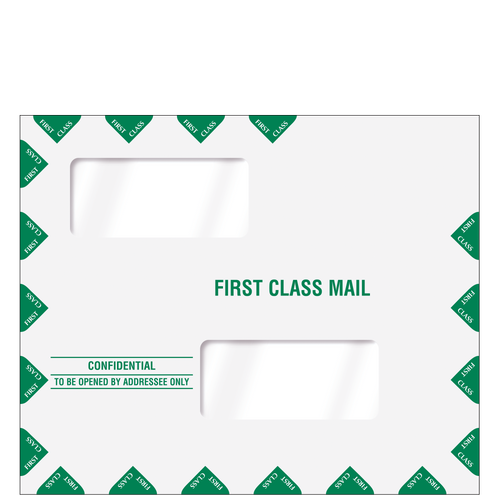 80343PS - Double Window First Class Mailing Envelope - Peel & Close