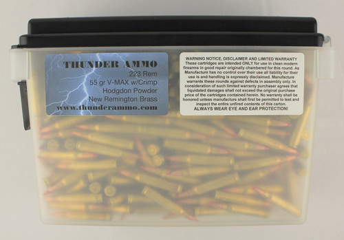 223 55gr V-Max Crimped New Remington Brass 500 Rounds --