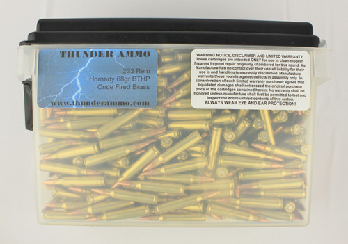 223 68gr BTHP Once Fired Lake City 500 Rounds --