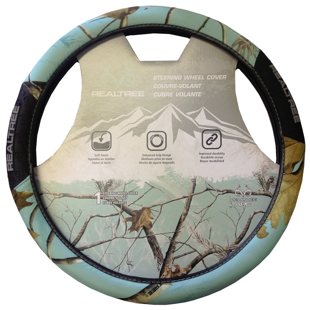 Realtree Mint 2-Grip Steering Wheel Cover in Package
