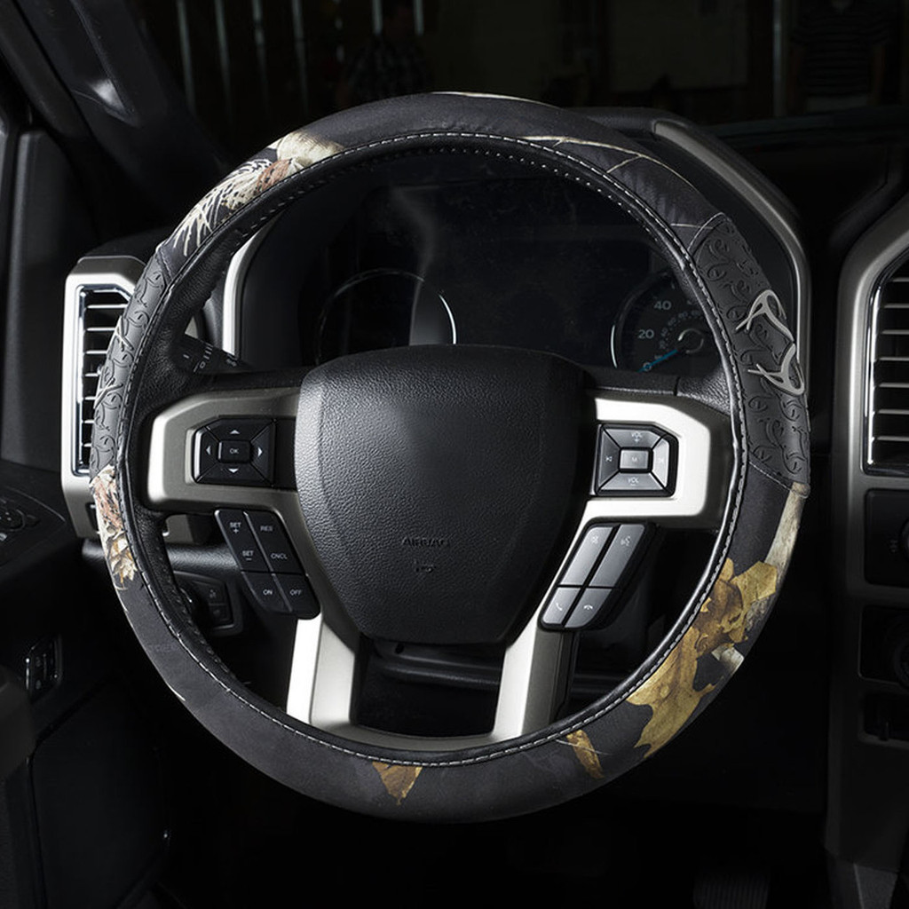Realtree Black 2-Grip Steering Wheel Cover in use